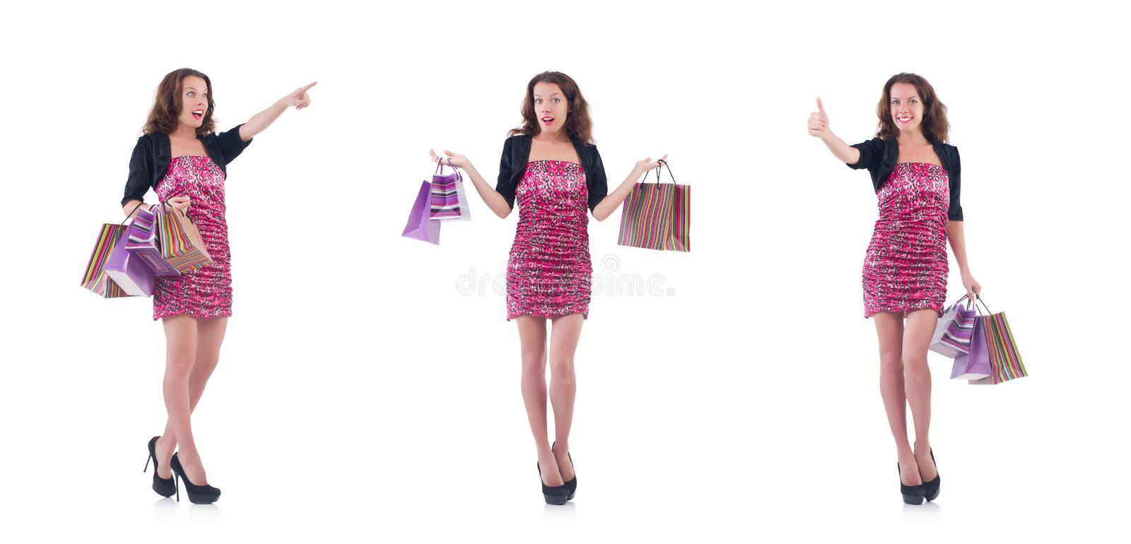 Girl after good shopping on white royalty free stock photography