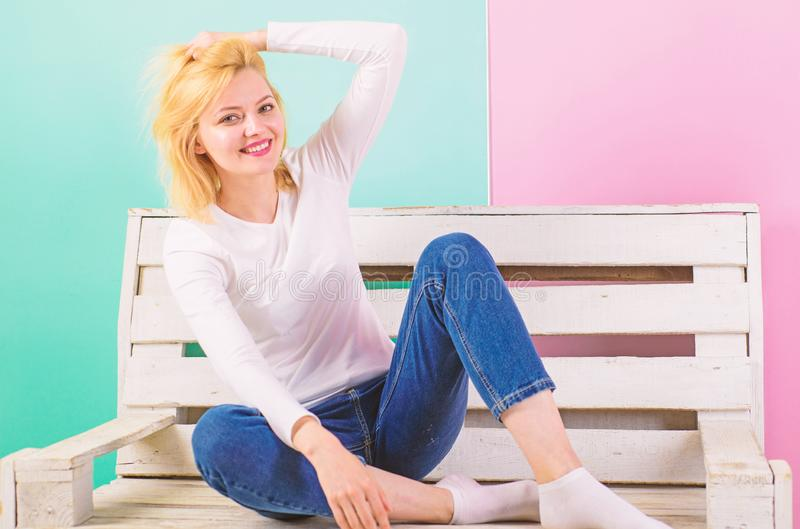Girl gorgeous even in simple style dressing. Simple beauty. She is simply gorgeous. Beautiful young woman smile while royalty free stock images