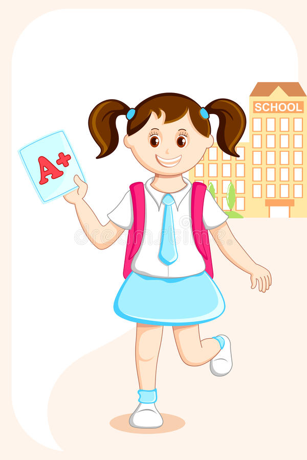 Download Girl with Grade Sheet stock vector. Illustration of preschooler - 21081578
