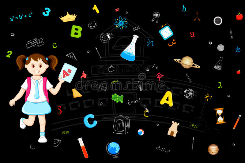 Girl with Grade Sheet. Illustration of girl with grade sheet on education background royalty free illustration