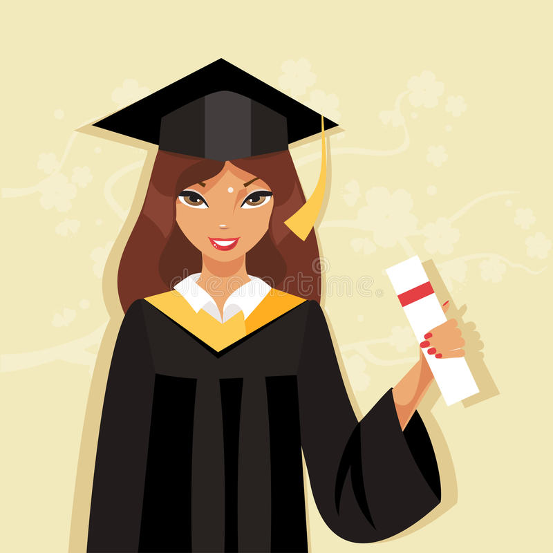 Girl Graduate. Vector Illustration Stock Vector - Illustration of ...
