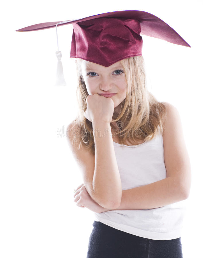 Girl in Graduation cap. Isolated royalty free stock photo