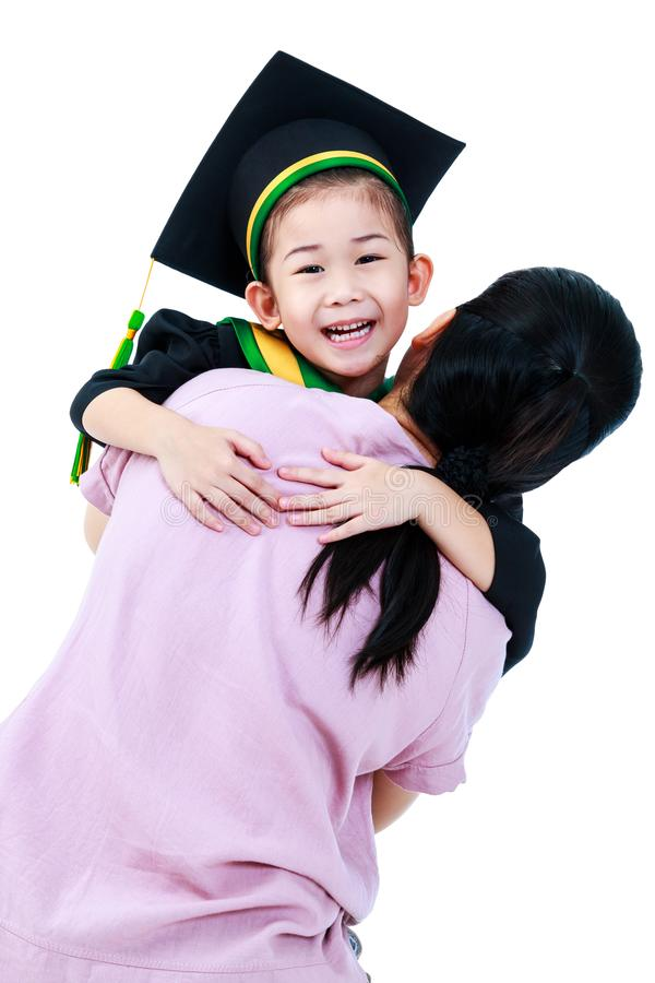 Girl In Graduation Gown With Her Mother. Isolated On White Backg ...