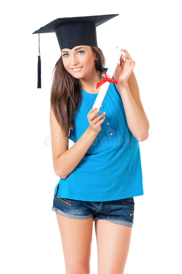 Girl with graduation hat. Beautiful girl with graduation hat holding diploma certificate, isolated on white background royalty free stock images