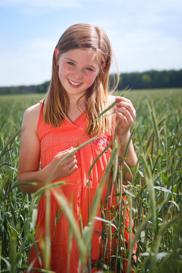Girl In Grainfield Royalty Free Stock Photography