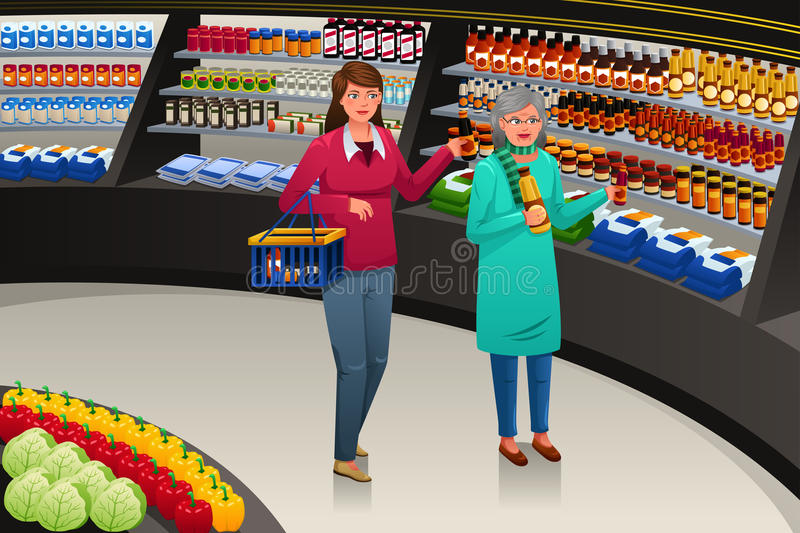 Girl and Grandmother Going Grocery Shopping stock illustration