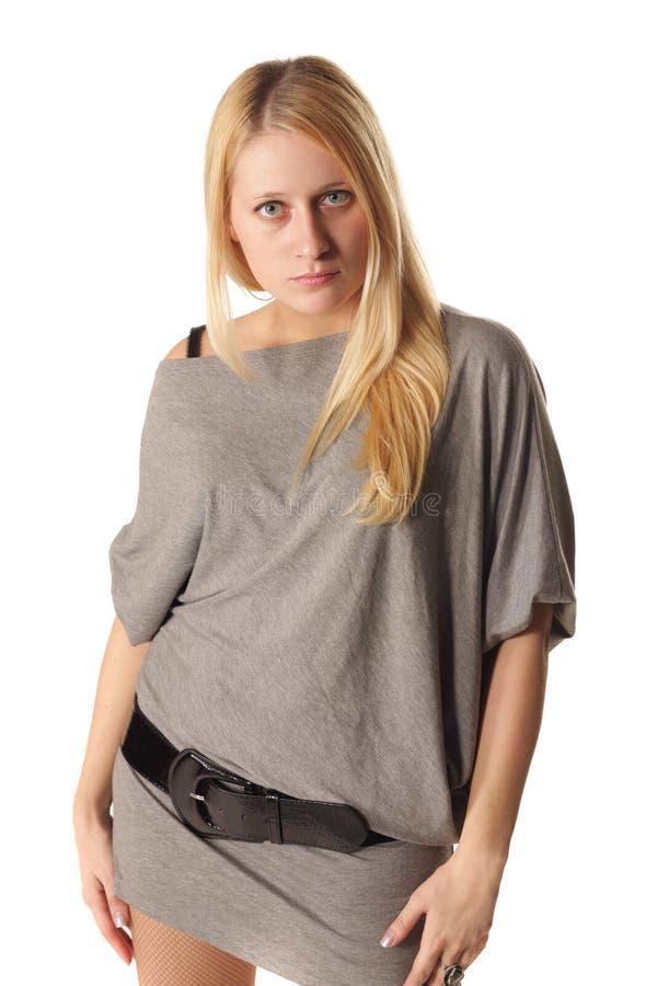 Girl in gray dress royalty free stock photos