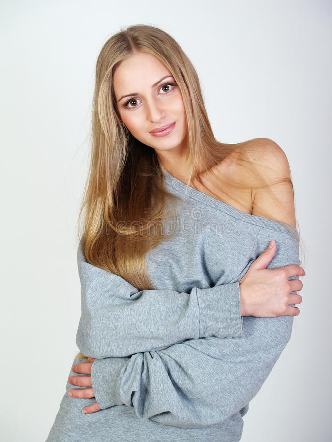 Download Girl In A Gray Home Jacket With A Long  Hair Stock Image - Image: 24489993