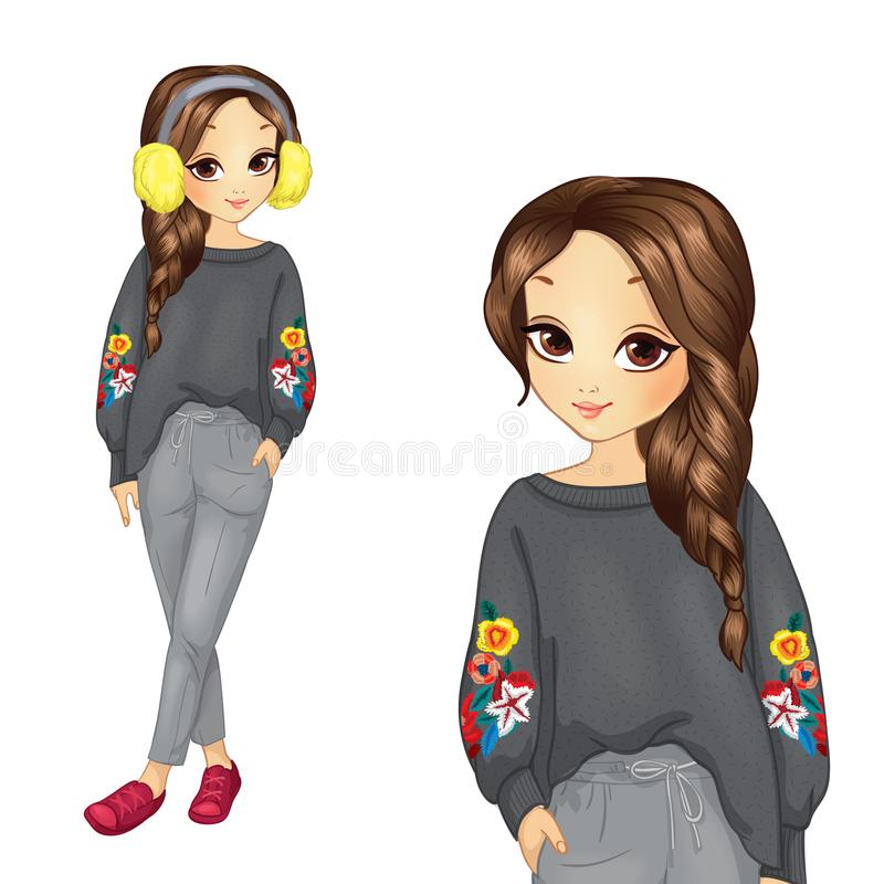 Girl In Gray Trousers And Sweater stock illustration