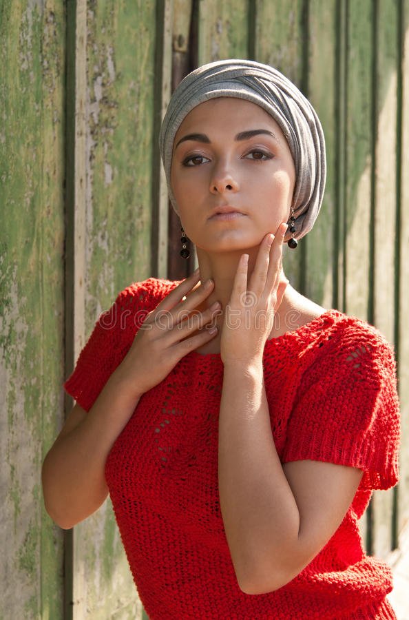 Download Girl in the gray turban stock image. Image of romantic - 20787881
