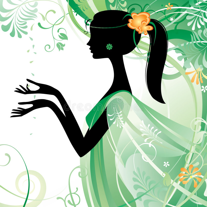 Girl in green. Raster version of vector girl's silhouette in green There is in addition a vector format (EPS 8