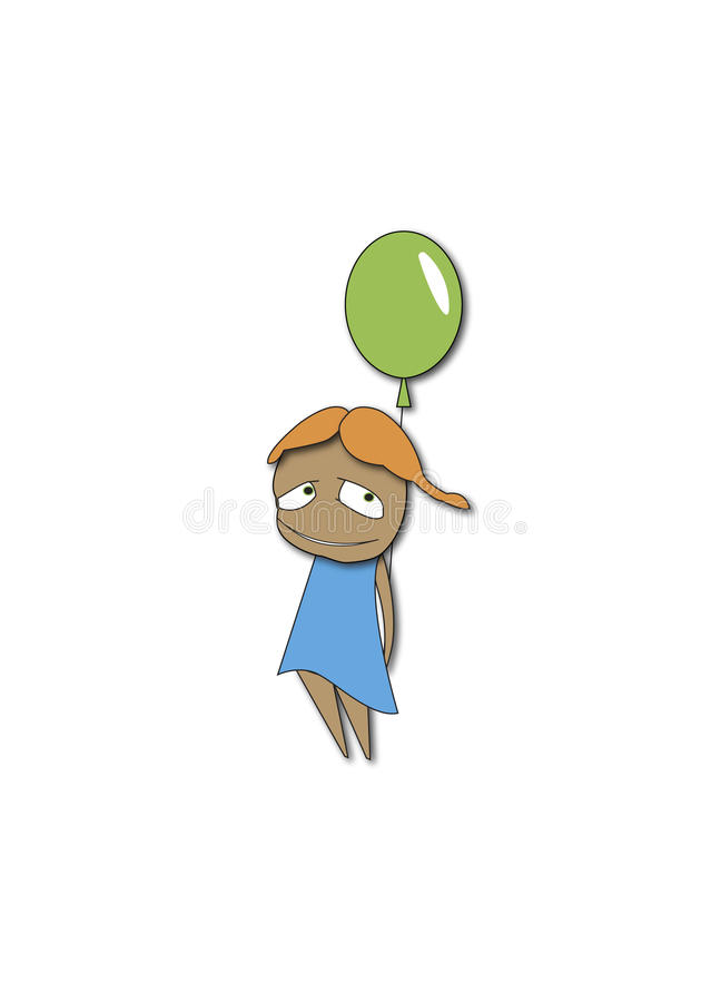 The girl with a green balloon stock photography