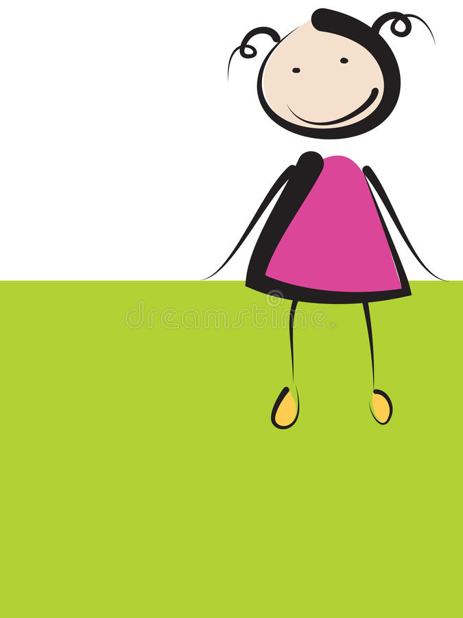 Girl on green banner stock photography