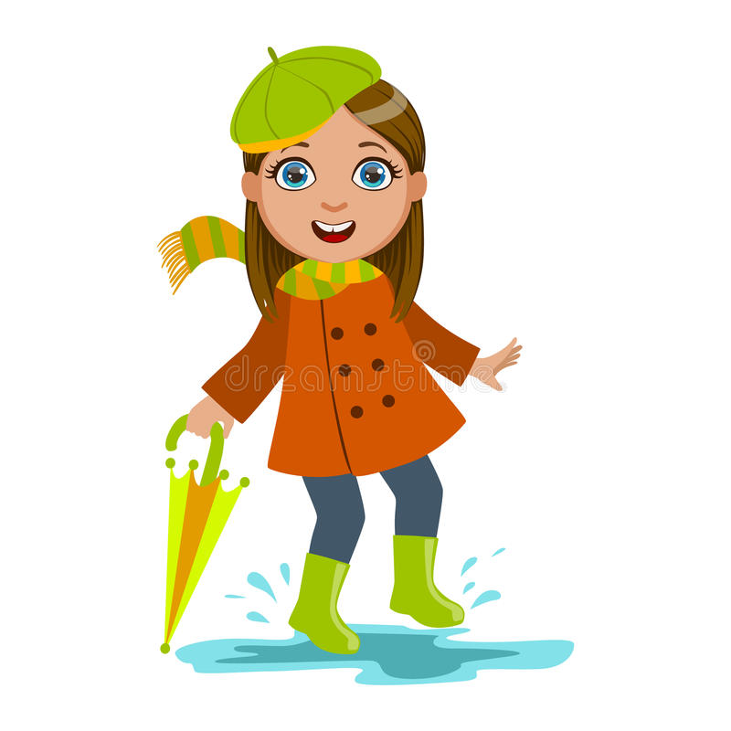 Girl In Green Beret With Umbrella Kid In Autumn Clothes