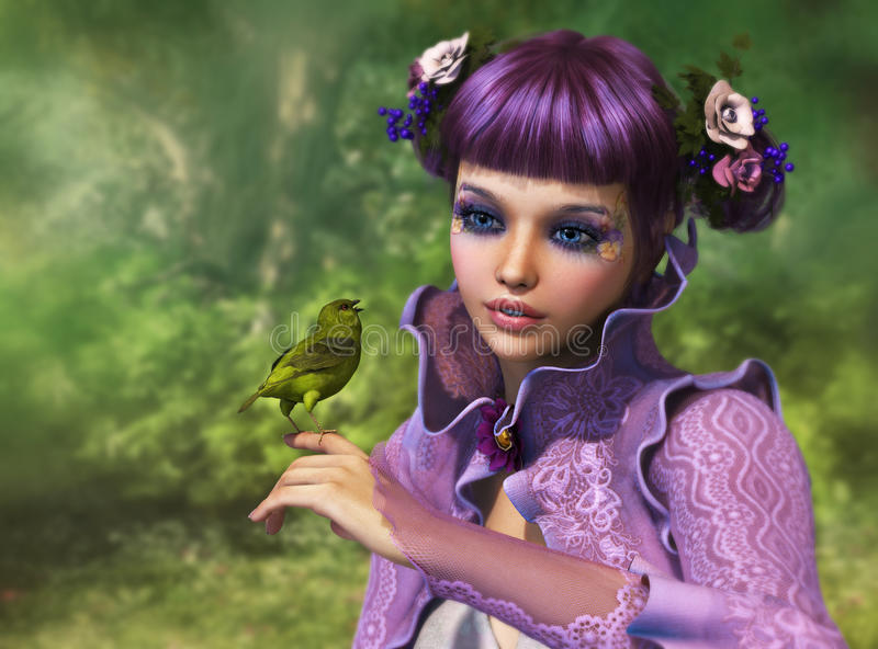 Girl and Green Bird, 3d CG. 3d computer graphics of a girl with a bird on her finger royalty free illustration
