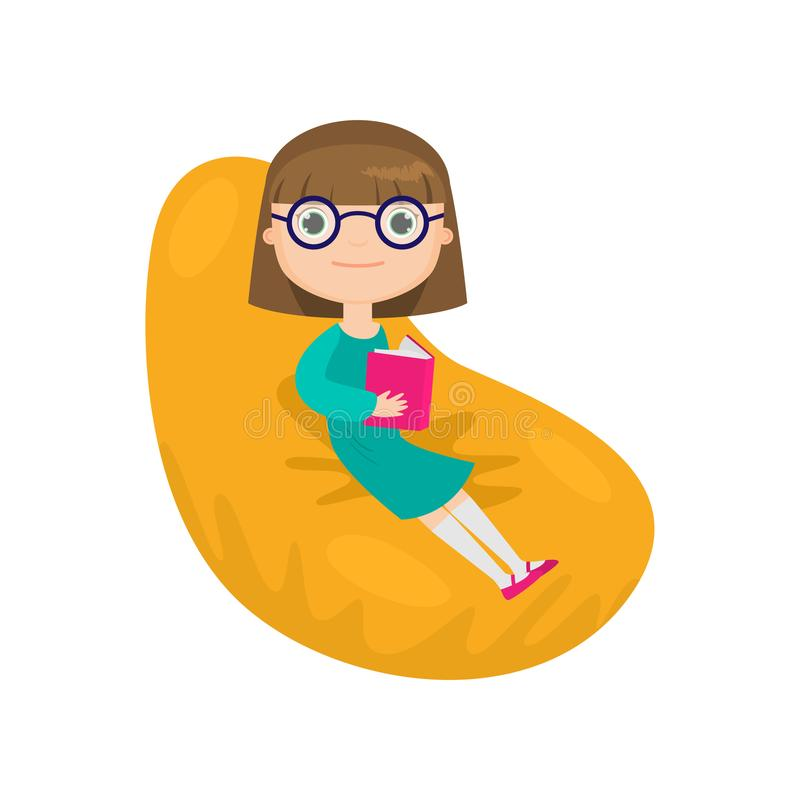 Girl in glasses sitting in easy chair and reading book isolated against white background stock illustration