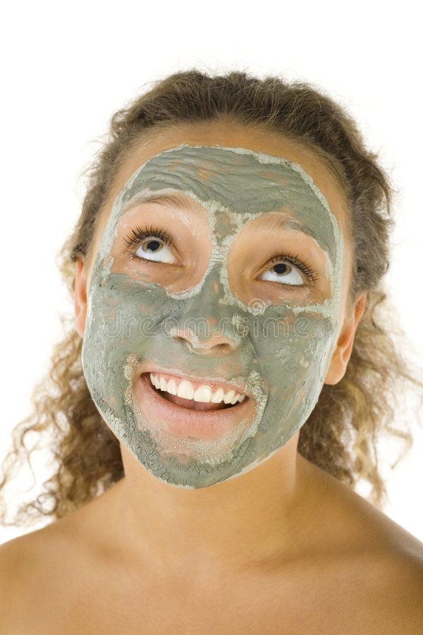 Download Girl in green face mask stock photo. Image of cosmetic - 3216318