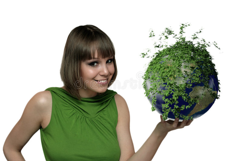 The Girl With A Green Planet Royalty Free Stock Image