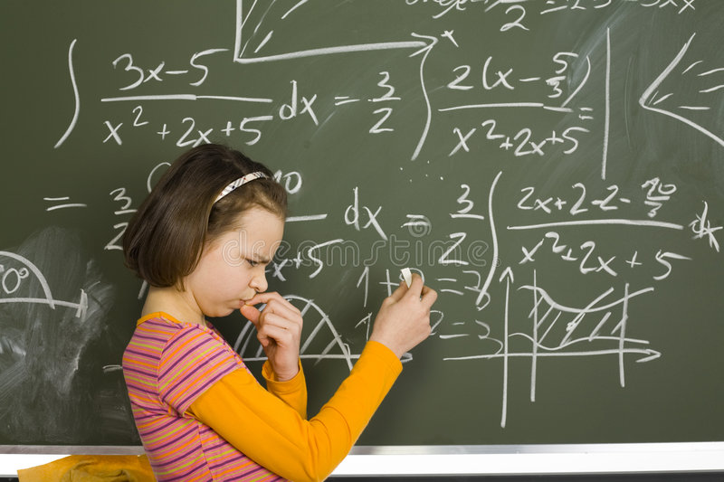 Download Girl at greenboard stock image. Image of count, mathematics - 2235865