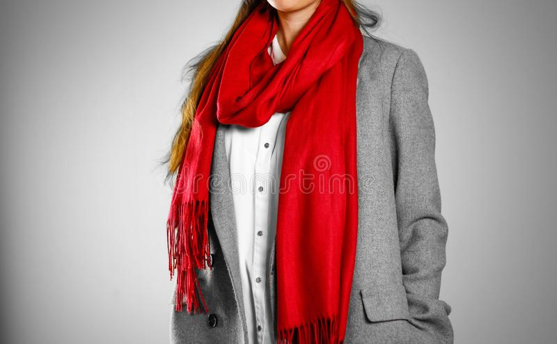 Girl in grey coat and red scarf. on grey background.  royalty free stock photo