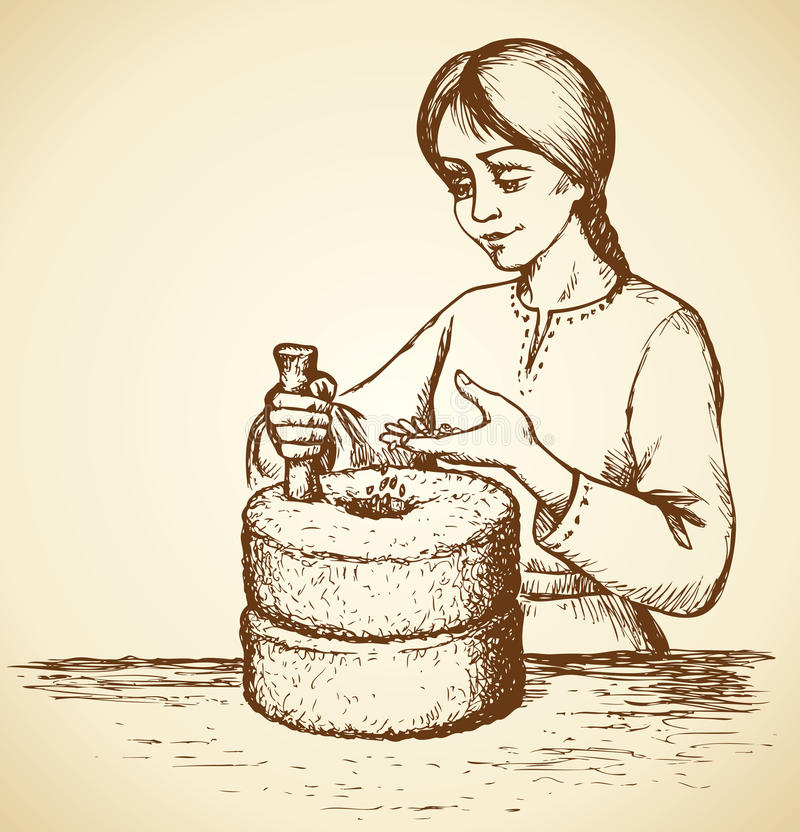 Girl grinds grain at mill. Vector drawing stock illustration