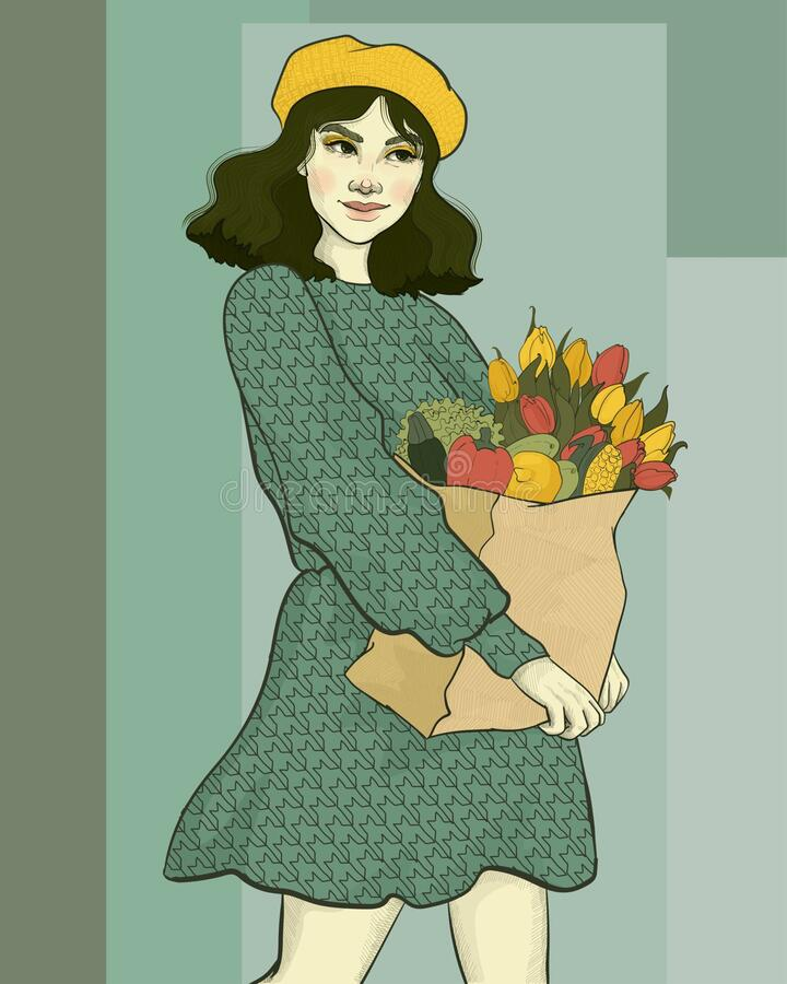 girl with a grocery package stock image