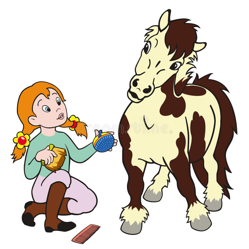 Download Girl grooming pony stock vector. Image of friendship - 27371975