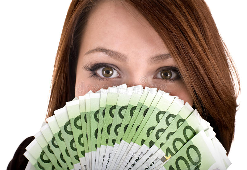 Girl with group of money. royalty free stock photography