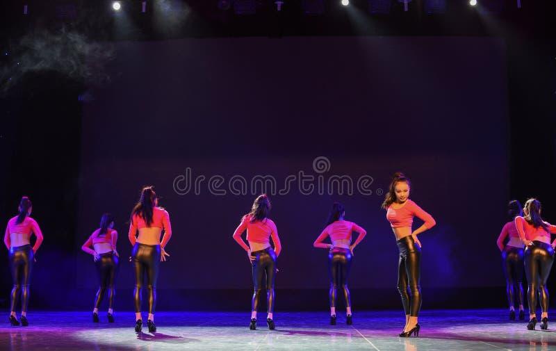 Girl group-Our Modern Maidens-hip-hop dance. Graduation performance of class 2, grade 11, dancing department,Jiangxi Vocational Academy of Art on Dec 24,2015 royalty free stock photo