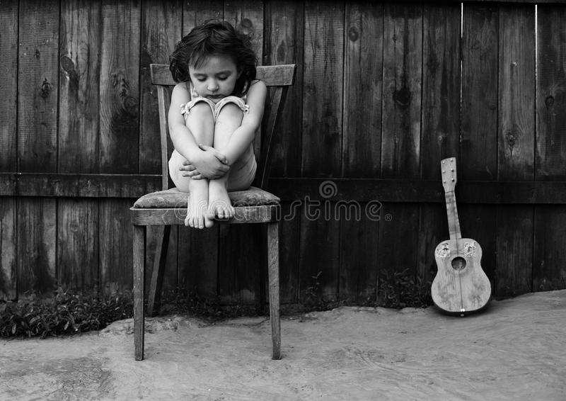 Download The girl with a guitar stock photo. Image of female, waiting - 18271286