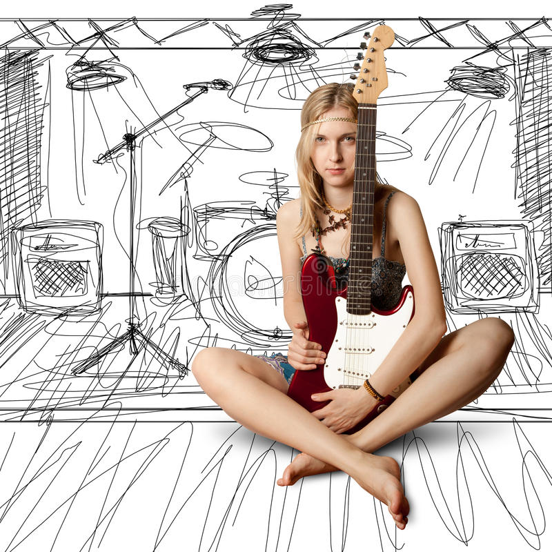 Download Girl With The Guitar Stock Photos - Image: 20274113