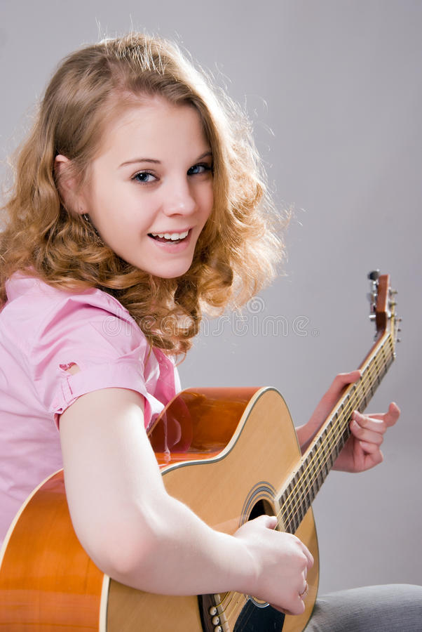 Download Girl with guitar stock image. Image of enjoying, female - 24271413