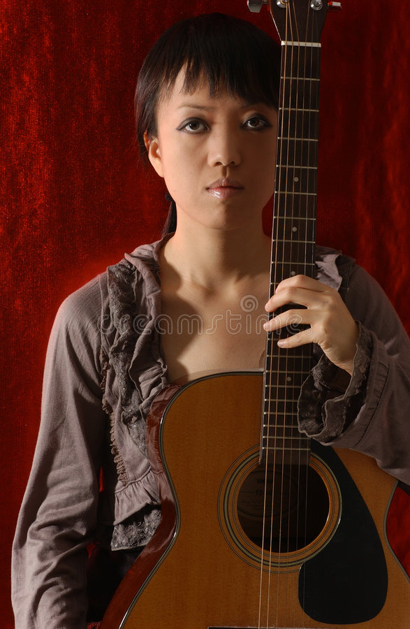 Download Girl and guitar stock image. Image of singer, asia, mockup - 393209