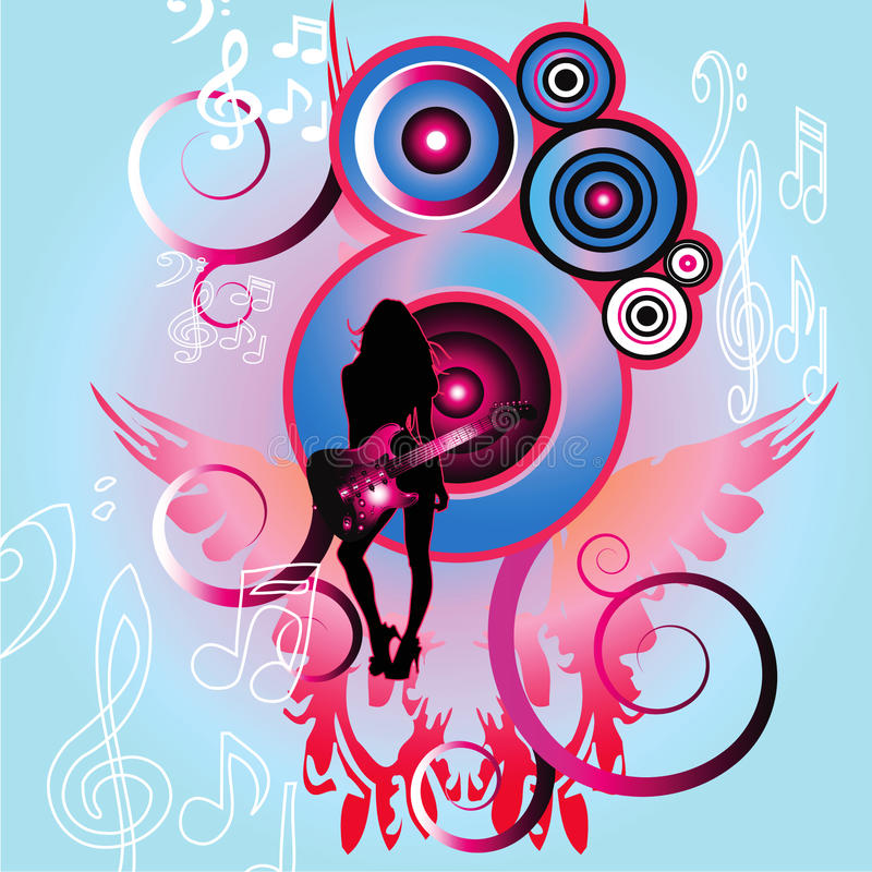 Download Girl with guitar stock vector. Image of atmosphere, club - 9392837