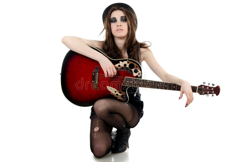 Download The Girl With A Guitar - Grunge Style Stock Image - Image: 24958641