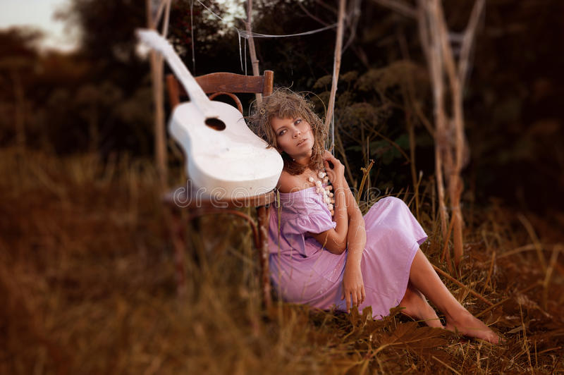 Download Girl with guitar stock image. Image of beauty, adult - 33432257