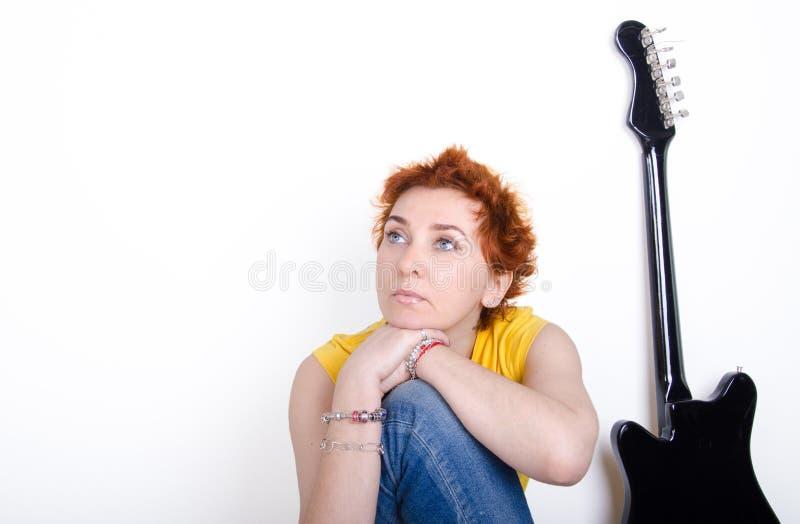 Girl with guitar royalty free stock photos