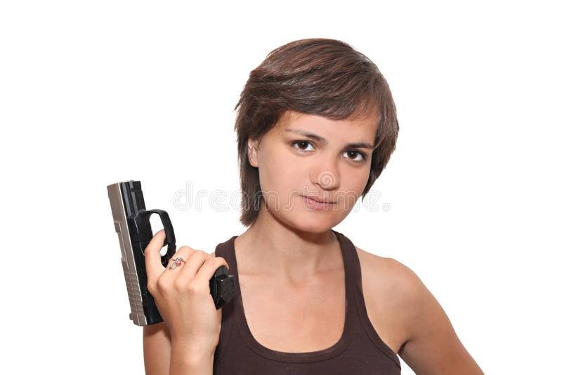 Download Girl with a gun stock image. Image of girl, hair, female - 10355423