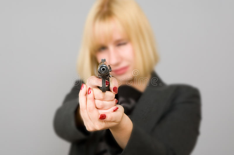 Download A girl with a gun stock image. Image of nails, dangerous - 22079851