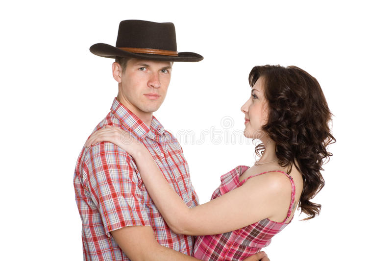 Girl and a guy in a cowboy hat stock image