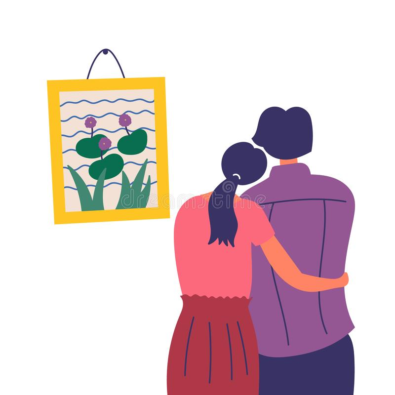 A girl and a guy spend time together. Cultural leisure in the art gallery. EPS 10 vector editable illustration vector illustration