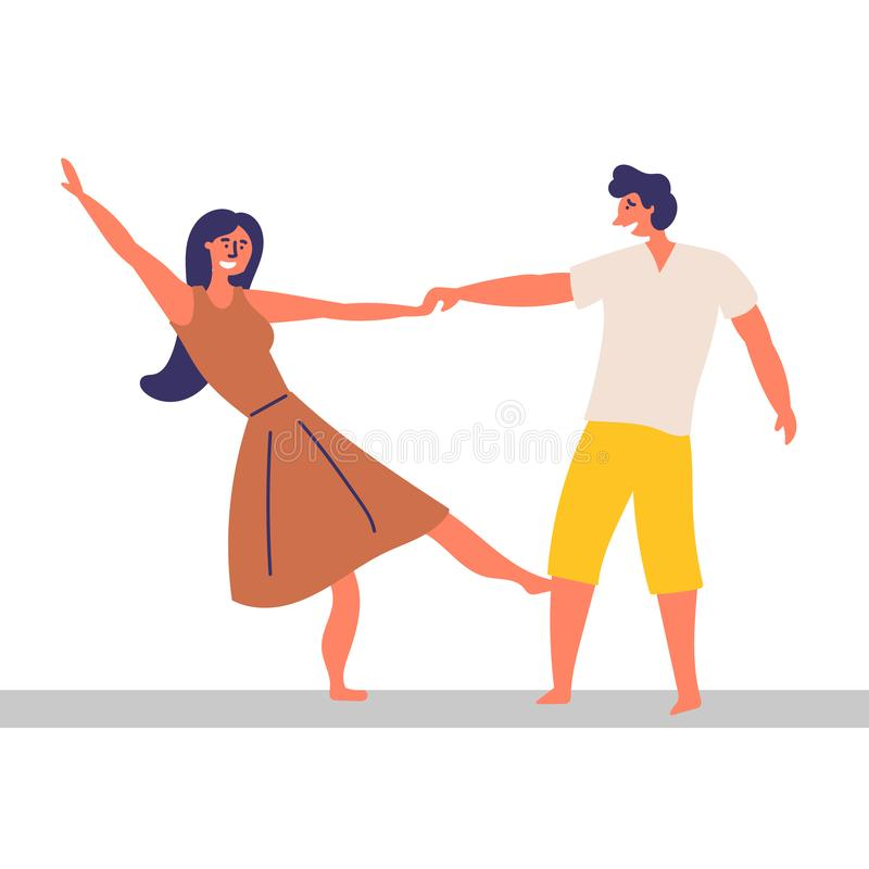 A girl and a guy spend time together. Dancing effortlessly. EPS 10 vector editable illustration vector illustration