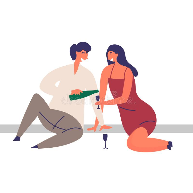 A girl and a guy spend time together. Romantic date. Picnic with champagne. EPS 10 vector editable illustration stock illustration
