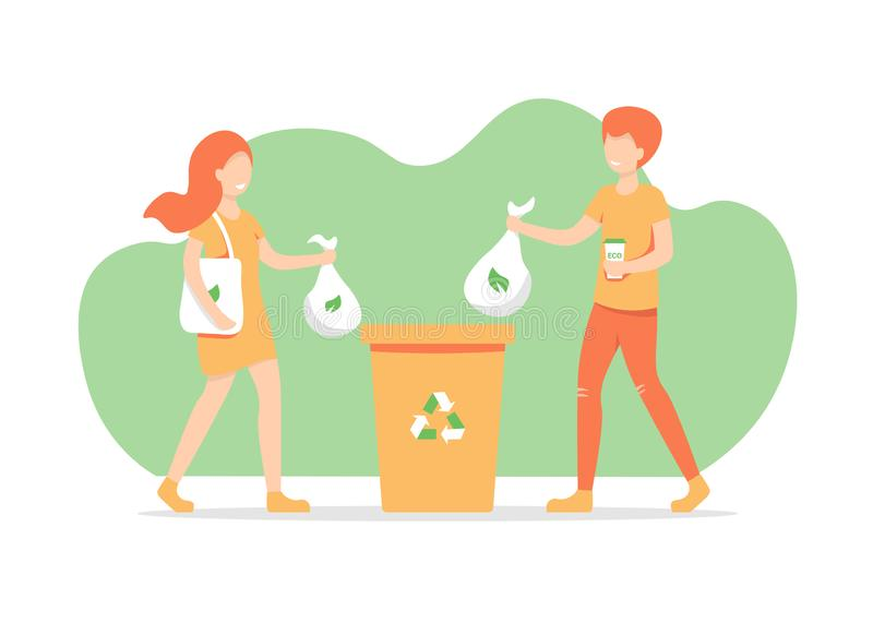 Girl and guy throws out trash stock illustration