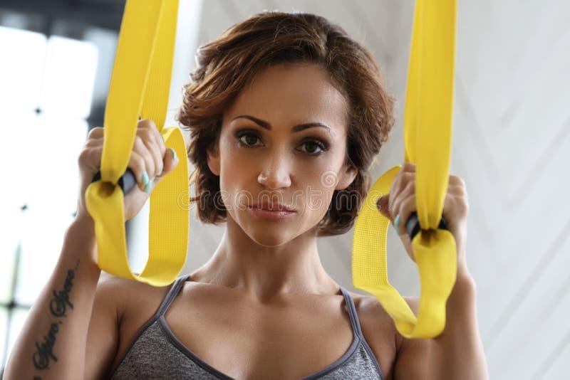 Girl at gym stock image