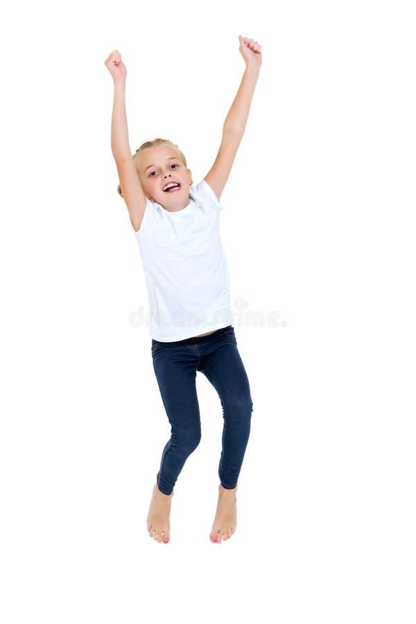 Girl gymnast jumping. royalty free stock photo