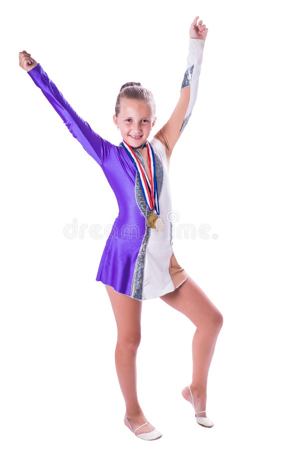 Girl gymnast with medals stock photography
