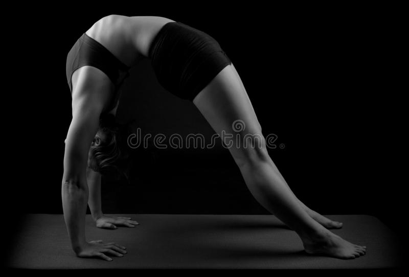 Gymnast yoga Chakrasana wheel pose b&w. Girl in gymnast outfit doing the yoga Chakrasana or Urdhva Dhanurasana or also called Upward-Facing Bow Pose, wheel pose royalty free stock image