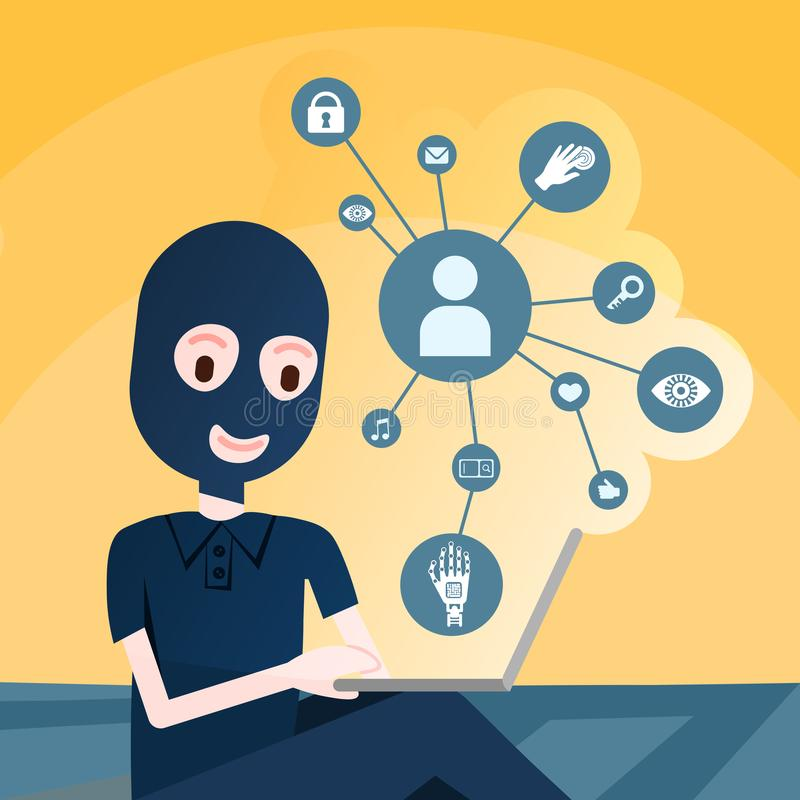 Girl hacker black mask over relation diagram diversity icon on yellow background security and protection General Data royalty free illustration