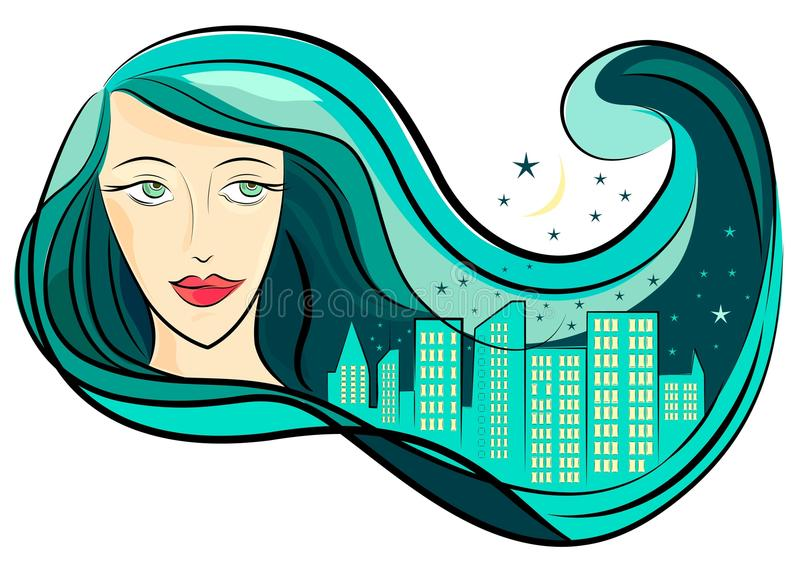 Download Girl hair and city vector stock vector. Illustration of decor - 11258541